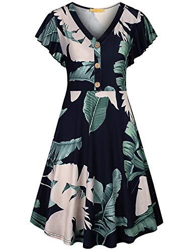 Baikea Boho Dress,Women Aline Fit and Flare Midi Dresses Sexy V Neck Cap Sleeve Elegant Ruffles Plus Size Leaves Patterned Vocation Wear for Summer Blue X-Large
