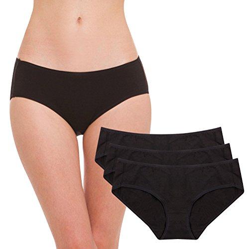 Hesta Women's Organic Cotton Basic Panties/Briefs Underwear 3 Pack (XX-Large, 3Blacks)