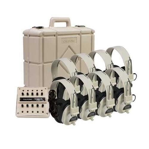 Califone 1218AV-01 8-Position Listening Center, 1218AV-01, Beige - Mono Headphone Replaceable Coiled Cord