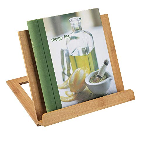 mDesign Bamboo Adjustable Cookbook Holder Stand for Kitchen Countertops - 4 Adjustable Positions, Folds Flat for Storage - Portable Book Stand, Freestanding - Natural Light Wood