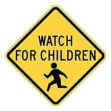 "Brady 124590 Traffic Control Sign, Legend ""Watch for Children"", 24"" Height, 24"" Width, Black on Yellow"