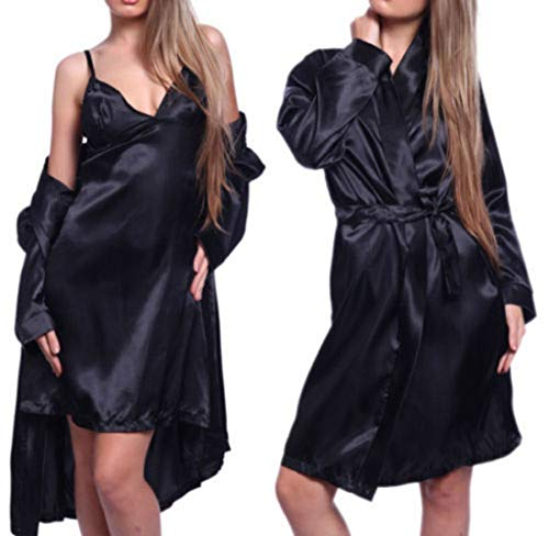 - New Fashion Hot Sexy Women Satin Robe Sleepwear Nightdress G-string Pajamas New