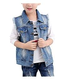 HomeToy Boy Simple Blue Single-Breasted Vest Child Sleeveless Denim Jacket