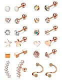 Subiceto 12 Pairs Stainless Steel Barbell Earring