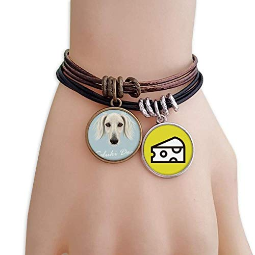 DIYthinker Long Face White Saluki Dog Pet Animal Bracelet Rope Sandwich Ornaments Wristband
