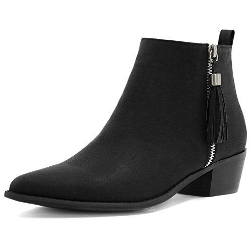 Allegra K Women's Pointed Toe Tassel Low Heel Ankle Booties (Size US 8.5) Black 53Z1Cxp