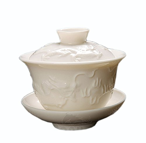 (ufengke Chinese Ceramic Kung fu Tea Bowl, Porcelain Tea Cup With Lid And Saucer, Tea Cup Set, Embossed Dragon Pattern Painting, 120ml)