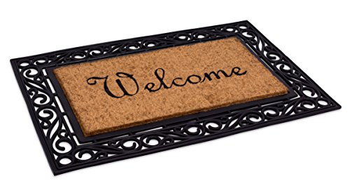 BirdRock Home Classic Welcome Brush Coir Doormat with Black Rubber Scroll Border, 24 x 36 Inch - Elegant Design (Classic Natural Home)