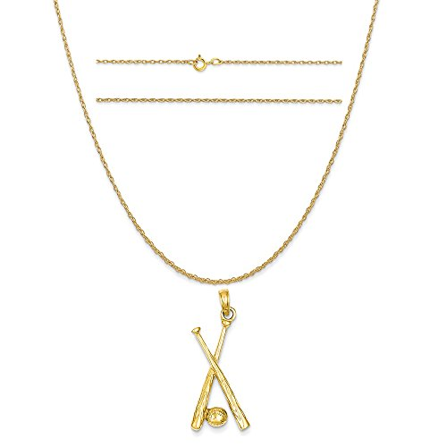 Polished Open Backed Bats - K&C 14k Yellow Gold Polished Open-Backed Bats and Ball Baseball Pendant on a Rope Chain Necklace, 20