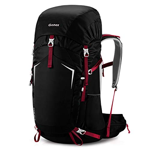 Gonex 55L Hiking Internal Frame Backpack Outdoor Backpacking Camping Trekking Climbing Backpack with Rain Cover for Men Women Black