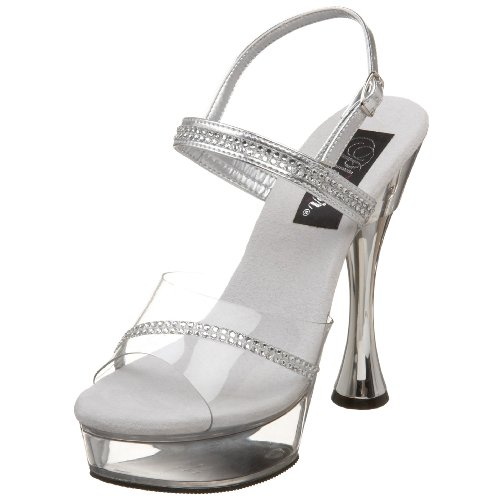 Clear Platform Sweet Shoes - Pleaser Women's Sweet-439 Cone Heel Rhinestone Sandal,Silver/Clear,11 M US
