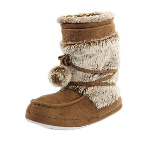 Soft Boots Home Khaki Indoor Warm Plush Womens Furry Slipper House Slipper Shoes EqwRqFn8