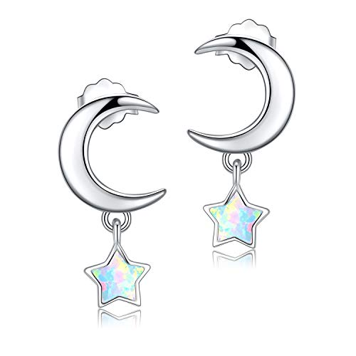 (Moon and Star Earrings Sterling Silver Opal Moon and Star Jewelry Star and Moon Earrings for Women (Moon and Star Earrings))