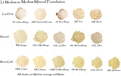 6 Pc Sampler Set Light Loose Mineral Foundation Level 3-4