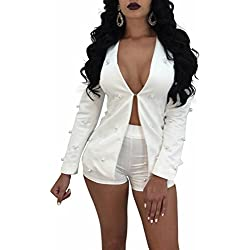 IyMoo Women's Solid Suits Long Sleeve Blazers with Long Pants Suiting Blazers Jacket Uniform with Beading White XX-Large