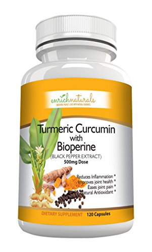 Turmeric Curcumin capsules with Bioperine Black pepper extract supplements - Fights & Soothes Inflammation and Joint Pain & Provides Antioxidant Protection - 500mg 120 Turmeric curcumin Capsules with Black Pepper Extract - Best Turmeric with black pepper supplements with 95% Curcuminoids (Extract 500 Mg Capsules)