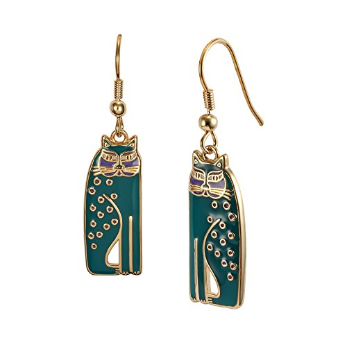 (Laurel Burch Teal Siamese Cats Dangle Earrings)