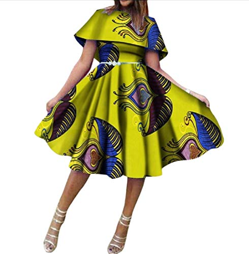 Zimaes Women Pendulum Dashiki Pleated Batik African Casual Party Dress 14 4XL by Zimaes-Women