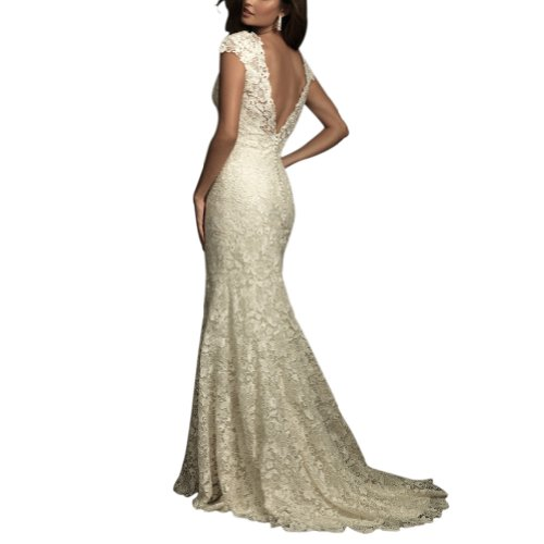 BRIDE Elegantes GEORGE Hochzeitskleider Spitze Elfenbein Ausschnitt applique aermel V Brautkleider BOSwRPSqU