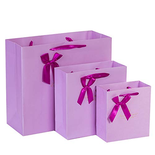 Blue Stones 5PCS Purple Gift Paper Bag Packaging Shopping Bags Wedding Birthday Gift Bag Flower Ribbon Bow 14157cm 20208cm 302712cm