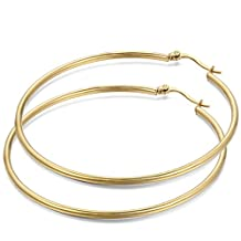 JewelryWe Fashion Women Lady Large Gold Earring Ring Hoop(with gift bag) Stainless Steel Large Hoop 2016 New Year Christmas Valentine's Day Gift 2pcs(One Pair)