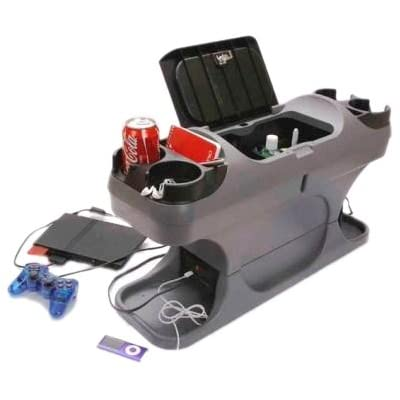 Image of Center Consoles TSI Products 57515 Plug N Go Grey Powered Minivan Console Plus