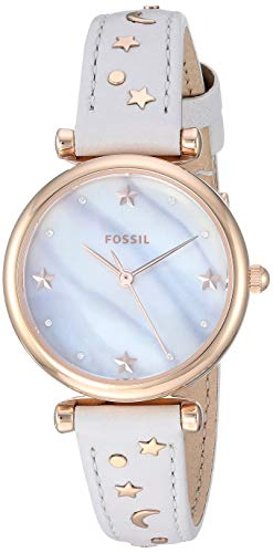 Fossil Women's Mini Carlie Stainless Steel Quartz Watch with Leather Strap, Tan, 12 (Model: ES4526)