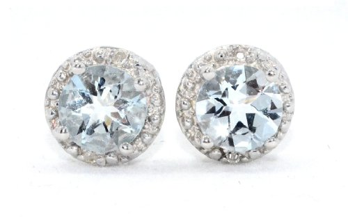 14Kt White Gold Genuine Aquamarine & Diamond Round Stud Earrings