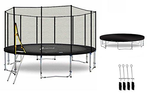LS-T400-PA13 (SD) DELUXE LifeStyle ProAktiv Garten- Trampolin 400 cm - 13ft - Extra Starkes Sicherheitsnetz - 180kg Traglast - TÜV/GS/CE