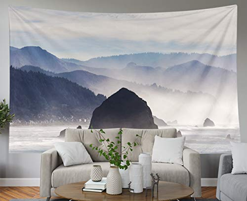 Shorping Blue Tapestries, 80x60Inches Hanging Wall Tapestry for Décor Living Room Dorm Rock in Cannon Beach Along Oregon Coast The Pacific Ocean
