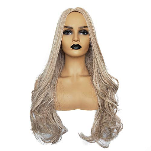 - Long Wavy Synthetic Lace Front Wig Glueless High Temperature Heat Resistant Fiber Hair Wigs for Women (28 inches, Light Gold)