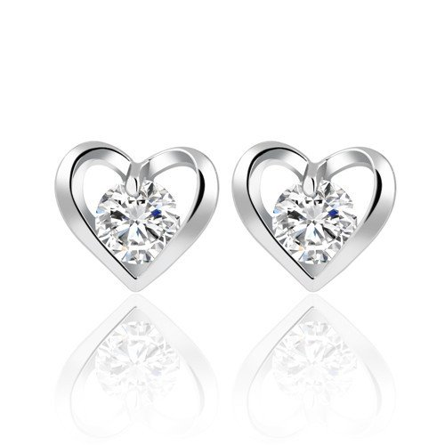 [Cosines Jewelry - Round Cut CZ Diamond Silver Stud Earrings Heart Bridal Women's Wedding Party] (The Real Batman Costume For Sale)