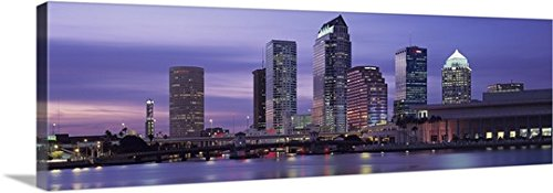 Canvas On Demand Premium Thick-Wrap Canvas Wall Art Print entitled Florida, Tampa, View of an urban skyline at night - Tampa Premium