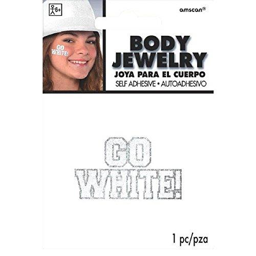 Go Team Go Costume - Amscan Go Glitter Body Jewelry, Party Accessory, White