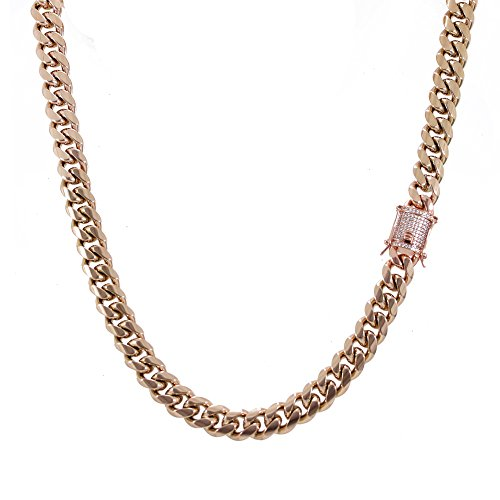 Chain - 1ct Lab Diamond Clasp - 14k ROSE Gold Plated Stainless Steel - Iced Out Bling ()