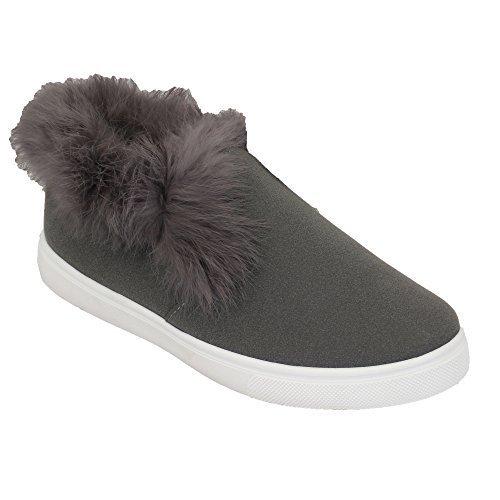 Damen Wildleder Flach Fur Turnschuhe Damen Pumps Hi Knöchel Ohne Bügel Sneakers Gefüttert New Grau - AM038