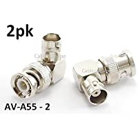 CablesOnline 2Pack 90-Degree BNC Right-Angle Male to BNC Female Video Adapter (AV-A55-2)