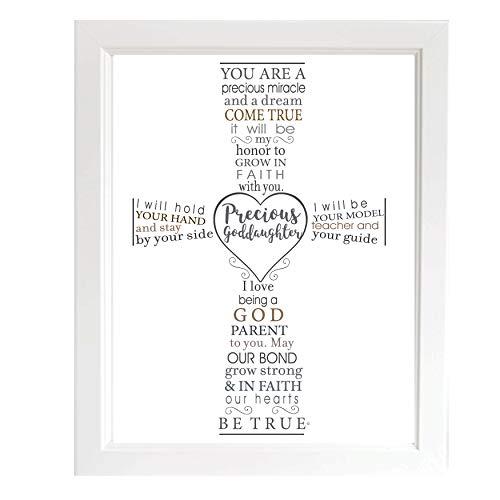 Precious Goddaughter Keepsake Frame - Gift for Goddaughter from Godparent for Baptism or Christening (Best Christening Gifts From Godparents)