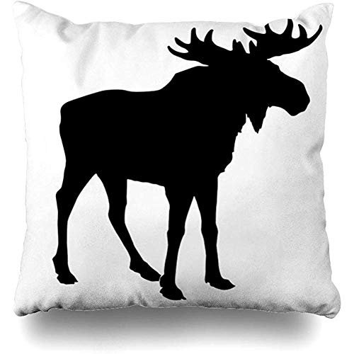(Throw Pillow Cover Pillows Cases Bull Canada Moose On White Hunting Alaska Horn Drawing Design Outdoors Home Decor Design Square 18 x 18 Inch Zippered Cushion)