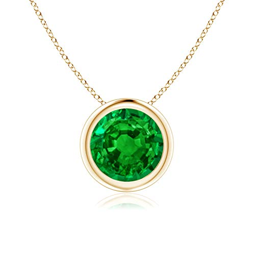 Bezel Set Created Emerald Pendant Necklace in 14k Yellow Gold (7mm), 18