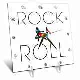 3dRose Alexis Design - Dance - Rock and roll text and two dancing colorful couples on white - 6x6 Desk Clock (dc_272515_1)