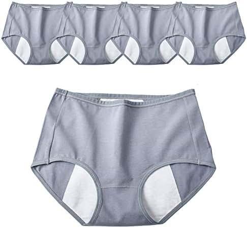 Ladies Period Panties 5 Pack Postpartum Protective Mid Waist Briefs Menstrual Cycle Anti-Leak Underwear Cotton Knickers,L
