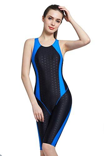 - Srnfean Women`s Professional Athletic Swimwear One Piece Swimsuit Swimwear Swimming Pool Training Suit Girls Trunks to Knee Black/Blue Large