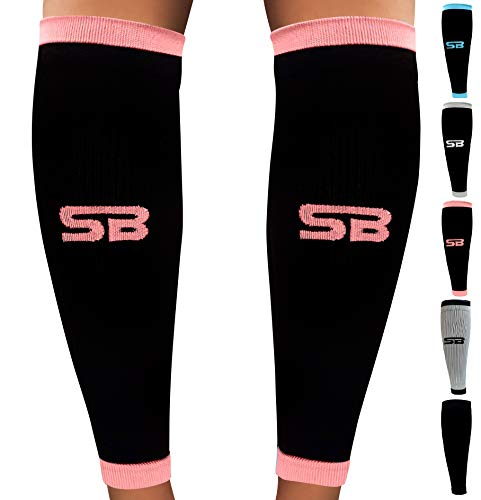 SB SOX Compression Calf Sleeves (20-30mmHg) for Men & Women - Perfect Option to Our Compression Socks - for Running, Shin Splint, Medical, Travel, Nursing, Cycling, and Leg Pain (Black/Pink, Small)