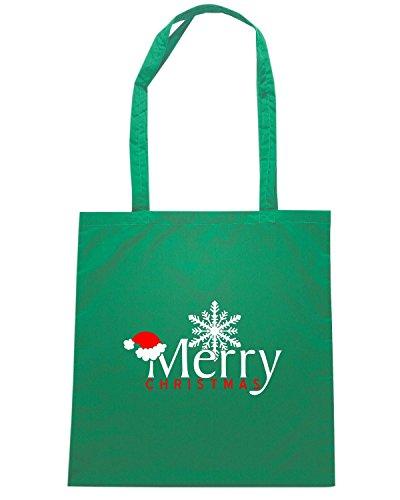 T-Shirtshock - Bolsa para la compra T0382 merry christmas festivita Verde