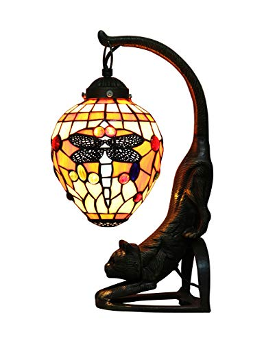 (ZYear Dragonfly Lantern Vintage Cat Table Lamp, Antique Bronze and Stained Glass Shade)