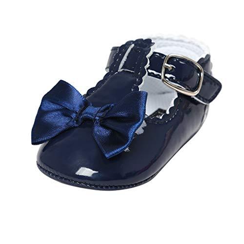 Mary Jane Princess Floral Shoes Anti-Slip Infant Prewalker Dress shoes (13cm(14-22 months), F-Navy) ()