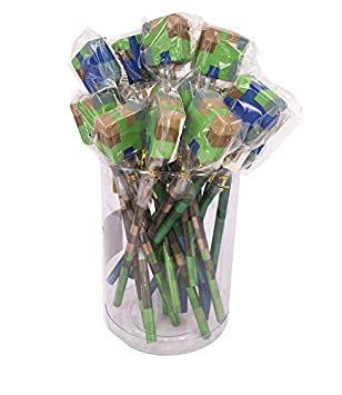 SDM 4 x Block Camouflage Pixel Design Pencils With Cube Erasers Ideal Party Bag Fillers
