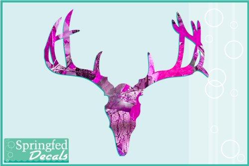 PINK-CAMO-Deer-Skull-2-Cut-Vinyl-Decal-4-Car-Truck-Window-Sticker