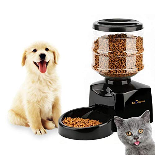 Automatic Pet Feeder Dispenser   5.5l Large Capacity   LCD Information Display   Voice Recording Function   Non-Toxic   Pet Proof Lock-On Lid   Battery Powered   Programmable   by PetOmatics